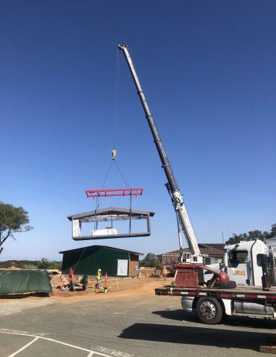 Photo of building being craned at Argonaut High School